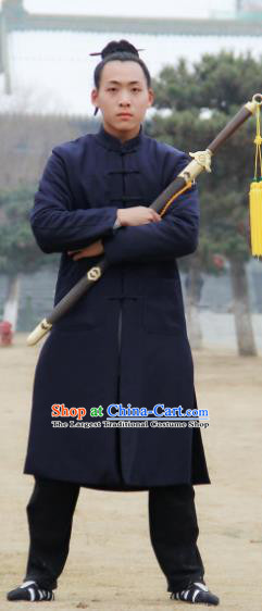 Chinese Traditional Martial Arts Winter Navy Cotton Wadded Robe Priest Frock Kung Fu Taoist Priest Tai Chi Costume for Men
