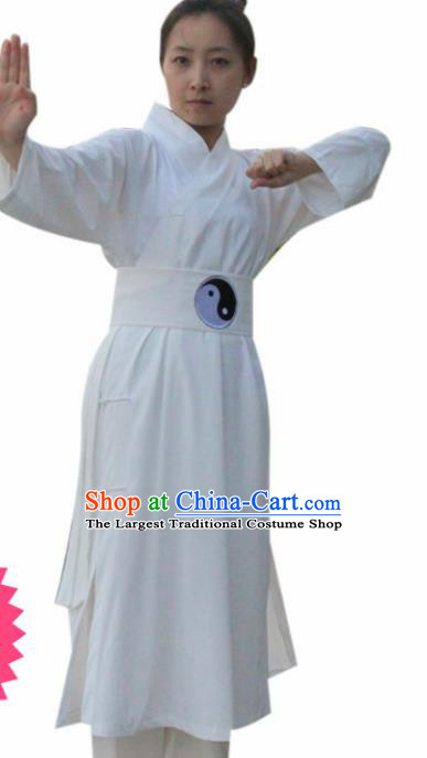 Chinese Traditional Martial Arts White Outfits Kung Fu Taoist Priest Tai Chi Costume for Women