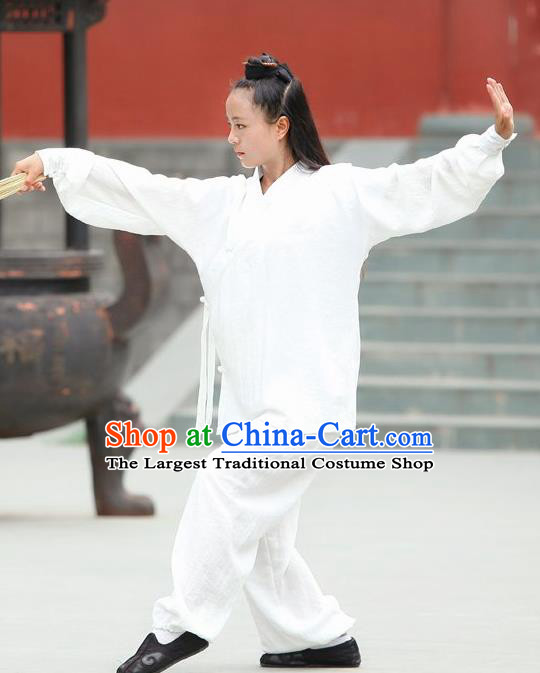 Chinese Traditional Wudang Martial Arts White Outfits Kung Fu Taoist Priest Tai Chi Costume for Women