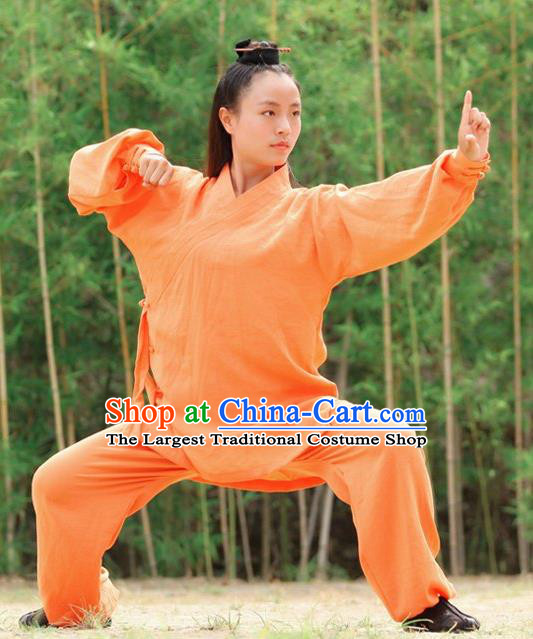 Chinese Traditional Wudang Martial Arts Orange Outfits Kung Fu Taoist Priest Tai Chi Costume for Women
