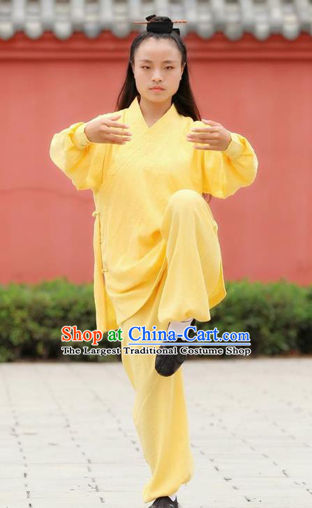 Chinese Traditional Wudang Martial Arts Yellow Outfits Kung Fu Taoist Priest Tai Chi Costume for Women