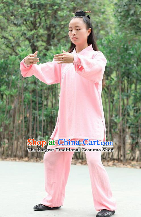Chinese Traditional Wudang Martial Arts Pink Outfits Kung Fu Taoist Priest Tai Chi Costume for Women