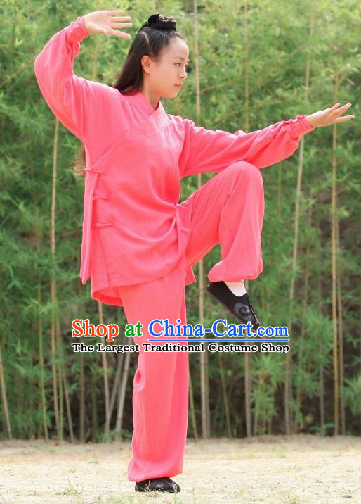 Chinese Traditional Wudang Martial Arts Rosy Outfits Kung Fu Taoist Priest Tai Chi Costume for Women