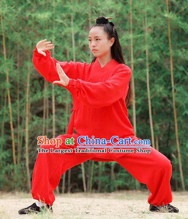 Chinese Traditional Wudang Martial Arts Red Outfits Kung Fu Taoist Priest Tai Chi Costume for Women