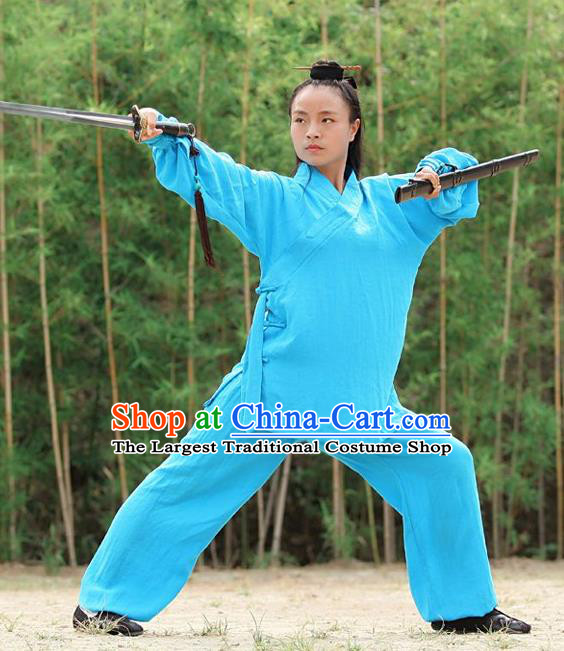 Chinese Traditional Wudang Martial Arts Blue Outfits Kung Fu Taoist Priest Tai Chi Costume for Women