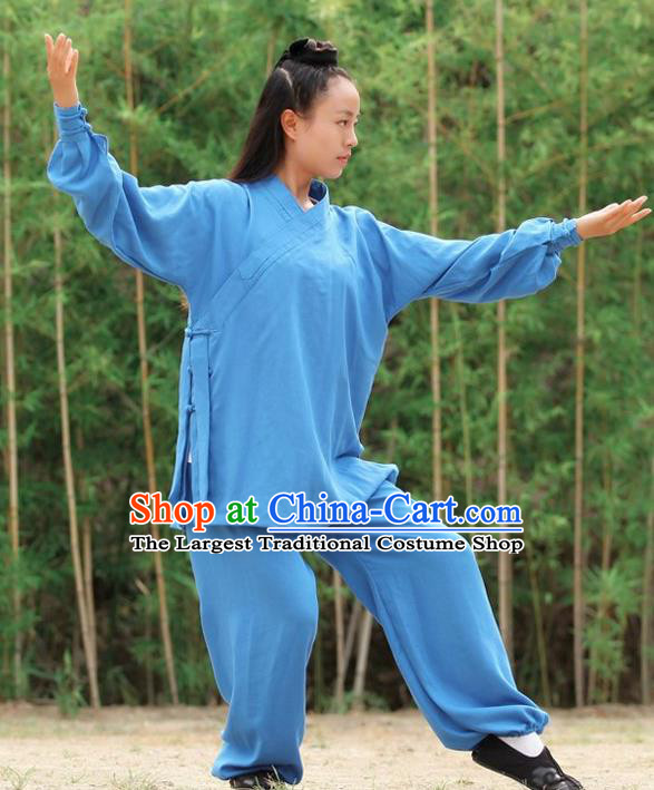Chinese Traditional Wudang Martial Arts Deep Blue Outfits Kung Fu Taoist Priest Tai Chi Costume for Women