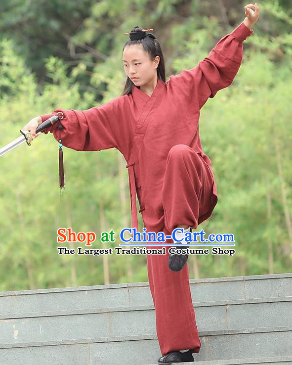 Chinese Traditional Wudang Martial Arts Rust Red Outfits Kung Fu Taoist Priest Tai Chi Costume for Women