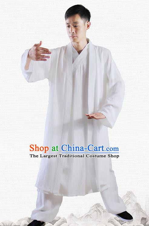 Traditional Chinese Martial Arts White Outfits Kung Fu Wudang Taoist Priest Tai Chi Costume for Men
