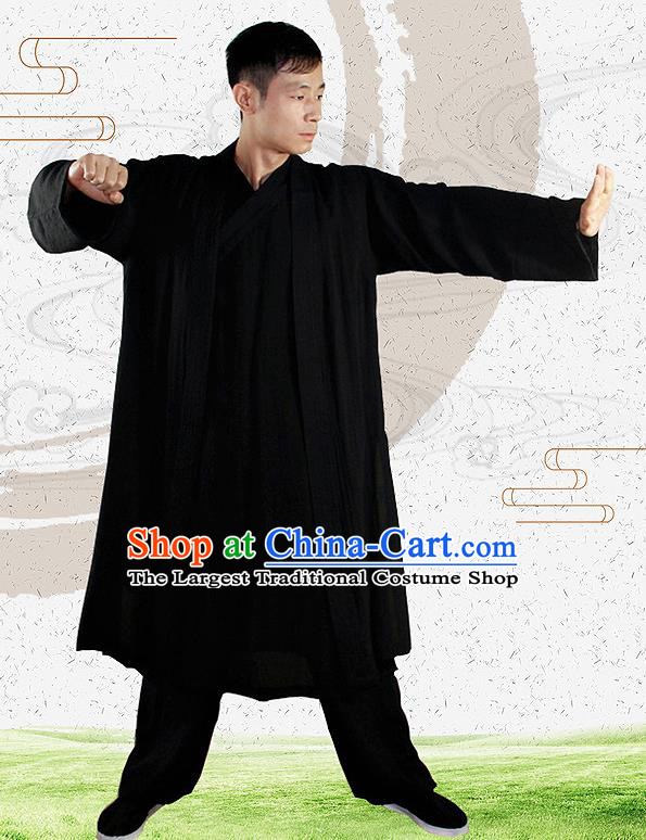Traditional Chinese Martial Arts Black Outfits Kung Fu Wudang Taoist Priest Tai Chi Costume for Men
