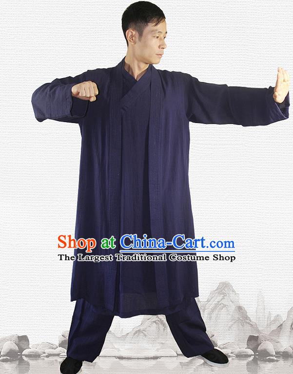 Traditional Chinese Martial Arts Navy Outfits Kung Fu Wudang Taoist Priest Tai Chi Costume for Men