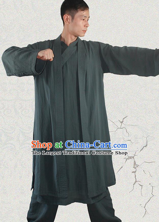 Traditional Chinese Martial Arts Atrovirens Outfits Kung Fu Wudang Taoist Priest Tai Chi Costume for Men