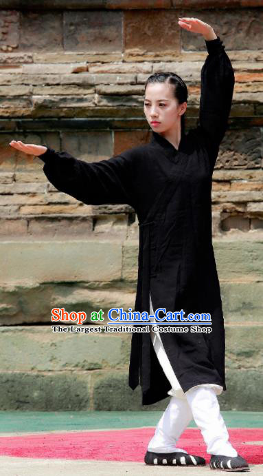 Chinese Traditional Wudang Taoist Nun Black Martial Arts Outfits Kung Fu Tai Chi Costume for Women