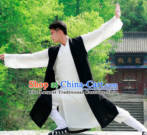 Traditional Chinese Wudang Taoist Priest Black Outfits Martial Arts Kung Fu Tai Chi Costume for Men