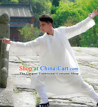 Traditional Chinese Wudang Taoist Priest White Outfits Martial Arts Kung Fu Tai Chi Costume for Men