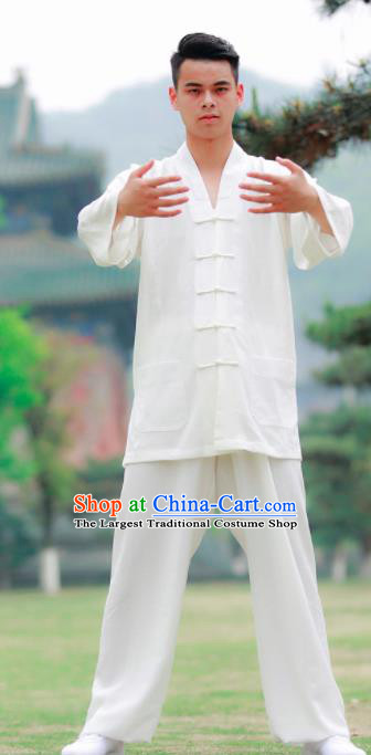 Traditional Chinese Wudang Taoist Priest Kung Fu Tai Chi White Outfits Martial Arts Competition Costume for Men