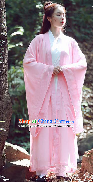 Chinese Traditional Wudang Taoist Nun Pink Cloak Martial Arts Outfits Kung Fu Tai Chi Costume for Women