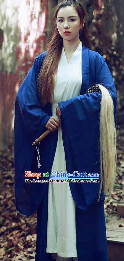 Chinese Traditional Wudang Taoist Nun Navy Cloak Martial Arts Outfits Kung Fu Tai Chi Costume for Women