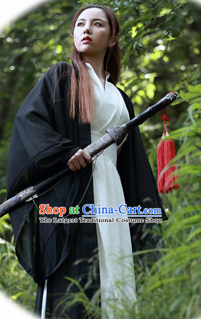 Chinese Traditional Wudang Taoist Nun Black Cloak Martial Arts Outfits Kung Fu Tai Chi Costume for Women