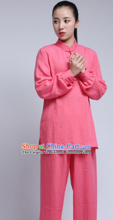 Chinese Traditional Wudang Martial Arts Pink Outfits Kung Fu Tai Chi Costume for Women