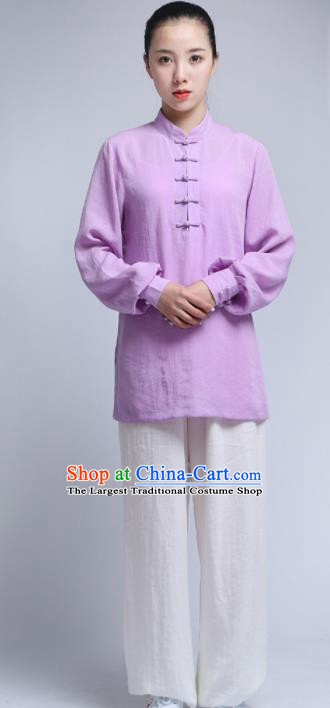 Chinese Traditional Wudang Martial Arts Purple Outfits Kung Fu Tai Chi Costume for Women