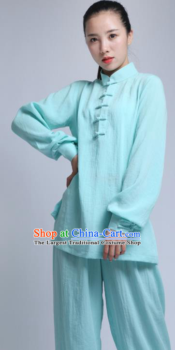 Chinese Traditional Wudang Martial Arts Blue Outfits Kung Fu Tai Chi Costume for Women
