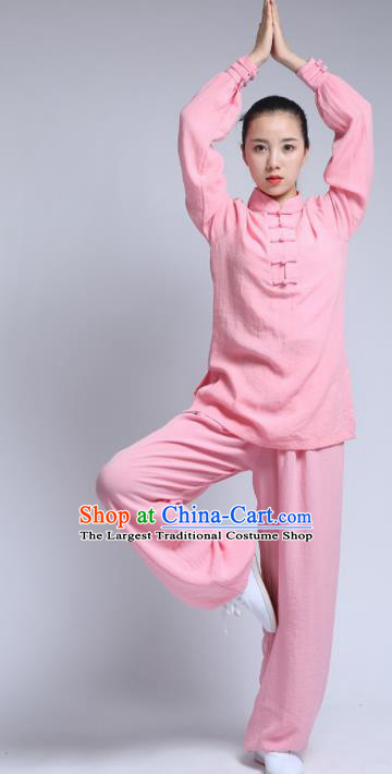 Chinese Traditional Wudang Martial Arts Light Pink Outfits Kung Fu Tai Chi Costume for Women