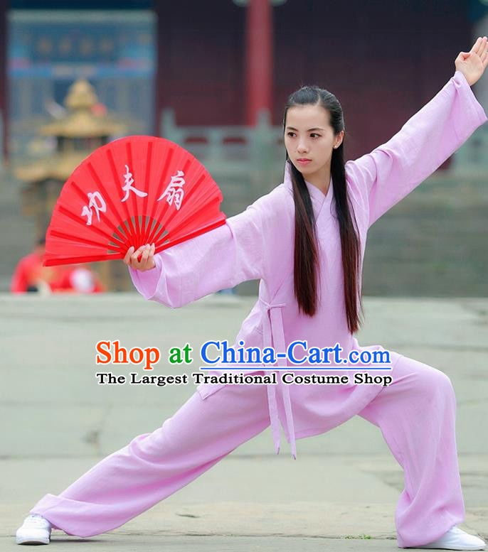 Chinese Traditional Wudang Taoist Priest Martial Arts Lilac Outfits Kung Fu Tai Chi Costume for Women