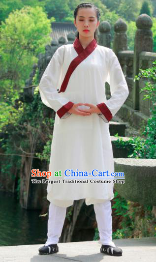 Chinese Traditional Wudang Taoist White Flax Robe Martial Arts Outfits Kung Fu Tai Chi Costume for Women
