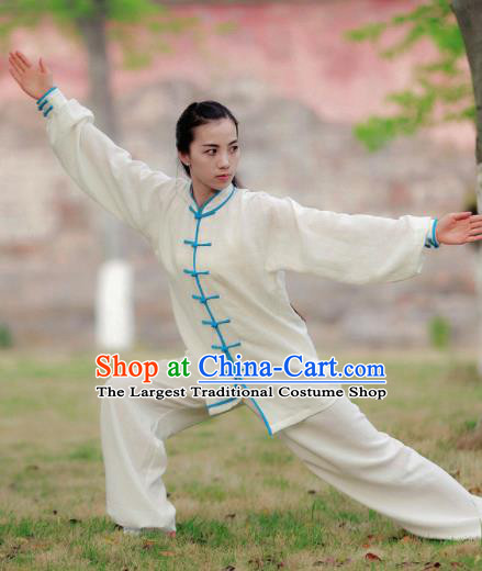 Chinese Traditional Wudang Martial Arts Blue Buttons Outfits Kung Fu Tai Chi Costume for Women
