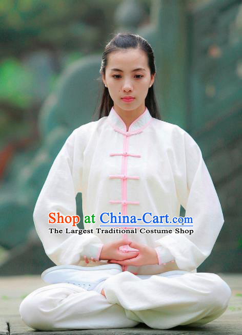 Chinese Traditional Wudang Martial Arts Pink Buttons Outfits Kung Fu Tai Chi Costume for Women
