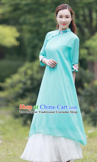 Chinese Traditional Tang Suit Green Silk Qipao Dress Classical Embroidered Cheongsam Costume for Women