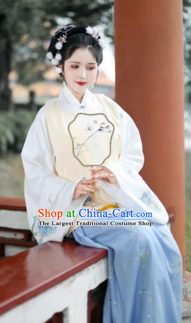 Traditional Chinese Ming Dynasty Nobility Lady Xue Baochai Embroidered Hanfu Dress Ancient Royal Princess Replica Costume for Women