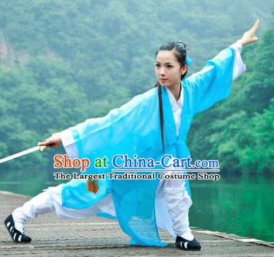 Chinese Traditional Wudang Taoist Nun Martial Arts Blue Outfits Kung Fu Tai Chi Costume for Women