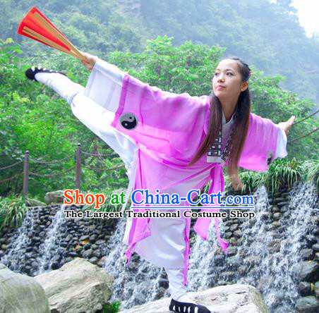 Chinese Traditional Wudang Taoist Nun Martial Arts Purple Outfits Kung Fu Tai Chi Costume for Women