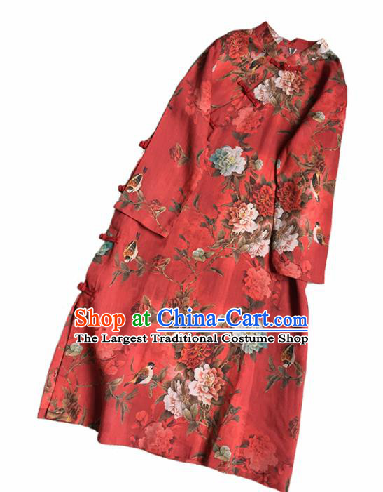 Chinese Traditional Tang Suit Red Ramie Cheongsam National Costume Printing Qipao Dress for Women