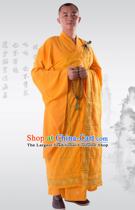 Traditional Chinese Monk Costume Buddhists Yellow Cassock Clothing for Men