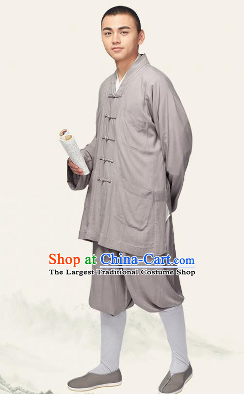 Traditional Chinese Monk Costume Meditation Grey Outfits Shirt and Pants for Men