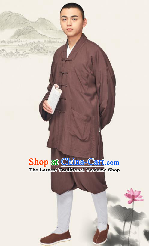 Traditional Chinese Monk Costume Meditation Brown Outfits Shirt and Pants for Men