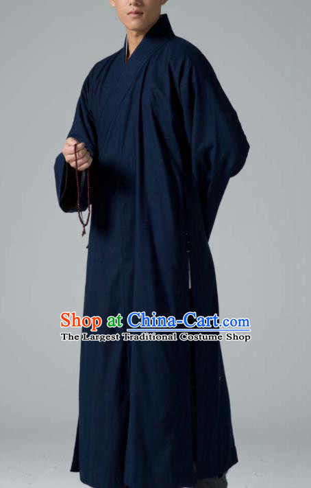 Traditional Chinese Monk Costume Buddhists Abbot Navy Yarn Gown for Men