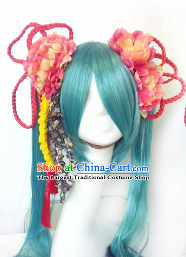 Top Grade Cosplay Fairy Swordsman Blue Wigs and Headwear for Women