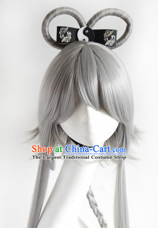 Top Grade Cosplay Fairy Swordsman Grey Wigs Hair Accessories for Women