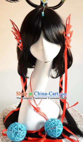Top Grade Cosplay Fairy Swordsman Black Wigs and Hair Accessories for Women