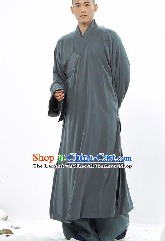 Traditional Chinese Monk Costume Buddhists Atrovirens Long Robe for Men