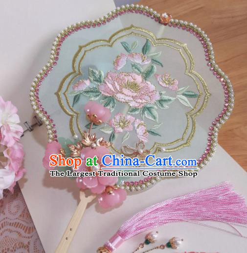 Traditional Chinese Classical Embroidered Palace Fans Hanfu Bride Silk Fan for Women