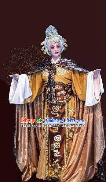 Traditional Chinese Henan Opera Seven Swords Old Female Costumes Dowager Countess She Saihua Dress and Headwear for Women