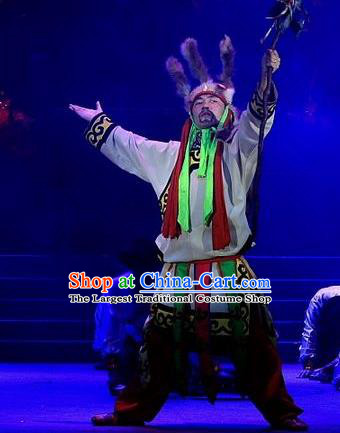 Phoenix Flying Qiang Dance Traditional Chinese Qiang Ethnic Minority Chief Dance Costumes and Headwear for Men