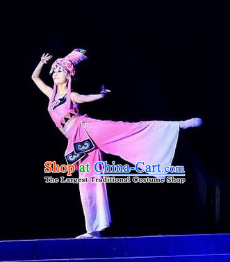 Phoenix Flying Qiang Dance Traditional Chinese Qiang Ethnic Minority Dance Pink Dress and Headwear for Women