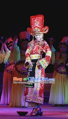 Phoenix Flying Qiang Dance Traditional Chinese Qiang Ethnic Minority Dance Wedding Red Dress and Headwear for Women