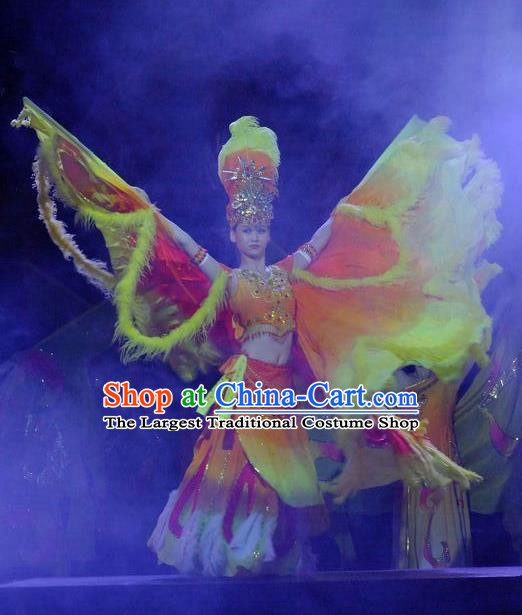 Phoenix Flying Qiang Dance Traditional Chinese Folk Dance Orange Wings Dress and Headwear for Women
