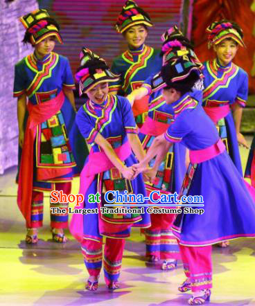 Phoenix Flying Qiang Dance Traditional Chinese Qiang Nationality Dance Blue Dress and Headwear for Women